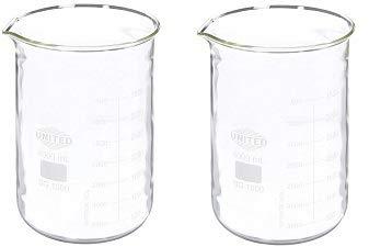 United Scientific BG1000-4000 Borosilicate Glass Low Form Beaker, 4000ml Capacity (2-(Pack))