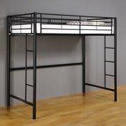 Amazon Com Twin Premium Metal Loft Bed Black College Dorm