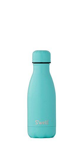 S'well Vacuum Insulated Stainless Steel Water Bottle, 9 oz, Turquoise Blue with matching cap