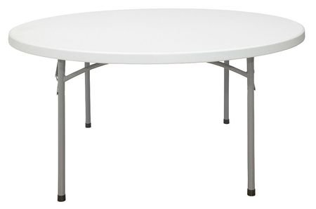 National Public Seating BT-R Series Steel Frame Round Blow Molded Plastic Top Folding Table, 1000 lbs Capacity, 60