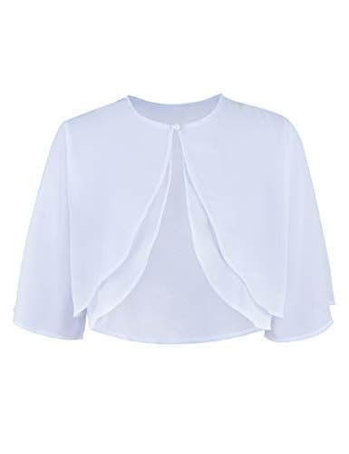 Junior's Sheer Chiffon Bolero Shrug Jacket Cardigan Short Sleeve Autumn White XL