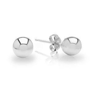 14k White Gold Ball Earrings Children/Adult Size 2, 3, 4, 5, 6, 7, 8 MM