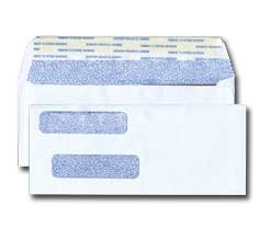 Quickbooks Size Double Window Envelope - Inside Tint - 24# White (3 5/8 x 8 3/4) - Double Window Series - Self Seal (Box of 1000)