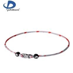 - Phiten Razor Titanium Necklace, Grey/Red, 22-Inch