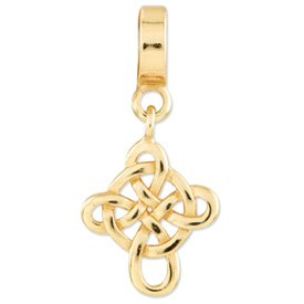 Best Quality Free Gift Box Sterling Silver Gold-plated s Celtic Cross Dangle Bead by Reflection Beads