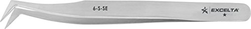 Excelta - 6-S-SE - Tweezers - Flat Sharp Point - Angulated - One Star - Anti-Mag. SS, 0.06