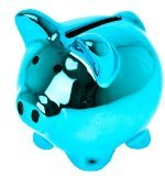 Present Time Wanted Mini Ceramic Disco Pig Moneybank, Assorted Colors