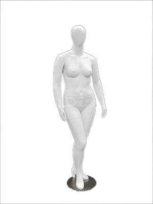 Plus Size Mannequins - (MD-NANCYW1) ROXYDISPLAY™ Egg Head Female Mannequin Plus Size, with high heel feet feature. with Arms by the side, and sculpture high heel shoe
