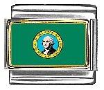 Washington State Flag Italian Charm Bracelet Link 9mm Italian Charm Patriotic Flag