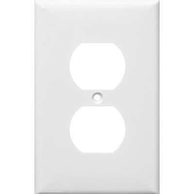 all Plate, Midsize Duplex Receptacle, 1 Gang, White ()