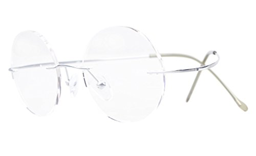 Eyekepper Titanium Rimless Round Eyeglasses 46mm Circle Optical Frame Silver