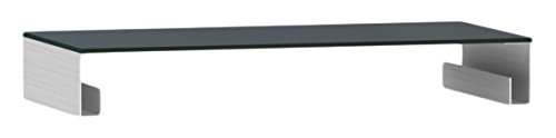 Jahnke 51ZM2 Funktions-Glasaufsatz, Echt-Aluminium geschliffen, ESG-Sicherheitsglas, schwarzglas, 82 x 40 x 12 cm