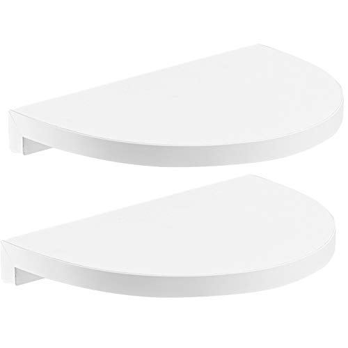 - Halter Rounded Floating Wall Shelves for Decorative Display - Easy Installation + Hardware & Screws Included. 2 Pack (9''x 6.5