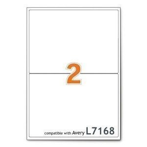 A4 Indirizzo stampante ufficio etichette bianche 2 per foglio 100 fogli Sticker World 2PERSHT