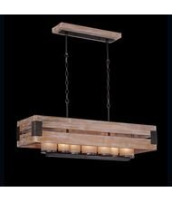 Eurofase 26365 Cesto 7-Light Rectangular Chandelier, Wood