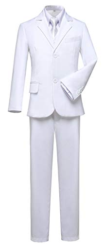 Visaccy Boys White Suit Graduation Suits for Kids Outfit Communion Dresses Size 6 ()