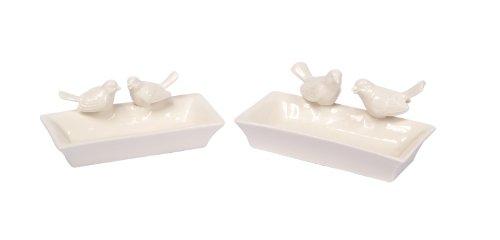 Melrose International Set of 2 White Porcelain Bird Feeder with Birds 7-inch Long, 7.5-inch (International Porcelain)