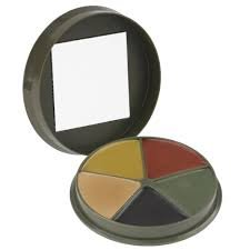 Camcon 5-Color Camo Compact Cream with Mirror, One Size Fits Most, Olive/Black/Brown/Sand/Green