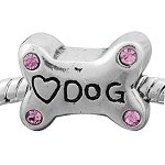 Buckets of Beads Rhinestone Dog Bone Charm Bead, Pink