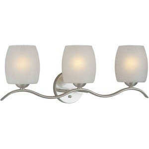 - Forte Lighting 5251-03-55 Transitional 3-Light Vanity Fixture with White Linen Glass, Brushed Nickel Finish