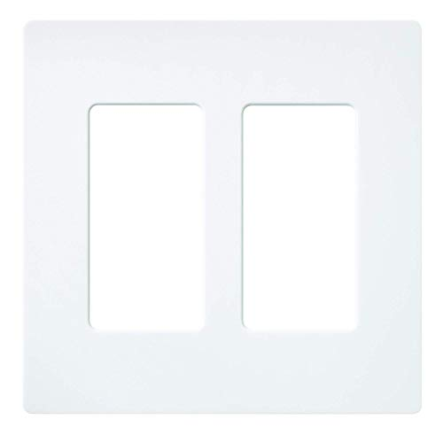 Lutron Claro 2 Gang Decorator Wallplate, SC-2-SW, Snow Diva Satin Colors Dimmers