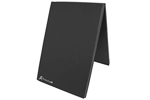 (ProsourceFit Bi-Fold Folding Thick Exercise Mat 6'x2' with Carrying Handles for MMA, Gymnastics, Stretching, Core Workouts, Black)