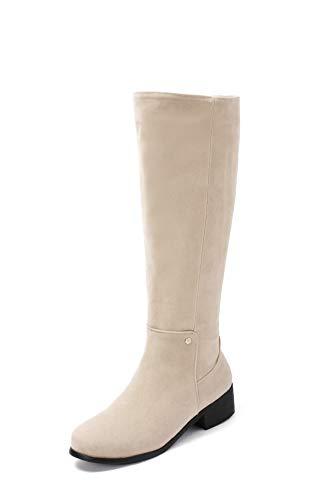 Women's Tacco Boots Donna Scarpe Con Da Basso Beige nwHCqa7nx