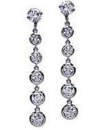 Sterling Silver Rhodium Graduated Bezel-Set By The Yard Dangling Earring