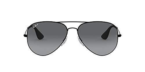 Ray-Ban RB3558 Aviator Sunglasses, Black/Polarized Grey Gradient, 58 mm (Ray Ban Aviator Sonnenbrillen)