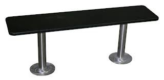 Phenolic Locker Room Bench with Two #304 Stainless Steel Pedestals - 36
