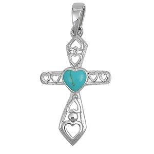 Joyara - Collier Femme Argent Fin 925/1000 Turquoise Pierre Croix Avec Coeur (Vient avec une chaîne de 45 CM)