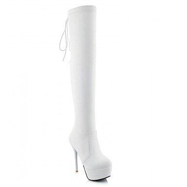 Heart&M Mujer Zapatos Semicuero Primavera Invierno Botas de Moda Botas Tacón Stiletto Dedo redondo Sobre la Rodilla Lunares Para Casual Blanco black