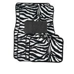 (A Set of 4 Universal Fit Animal Print Carpet Floor Mats for Cars / Truck - Zebra White)