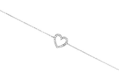 Diamond Gold Tiny Heart Bracelet, 9K 14K 18K White Gold Charm, Romantic Love Gift For Her, White Natural Diamonds/code: - 9k Heart Bracelet
