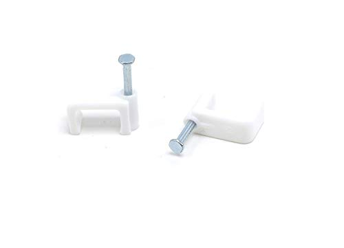 THE CIMPLE CO - Dual, Twin, or Siamese Coaxial Cable Clips, Cat6, Electrical Wire Cable Clip, 1/2 in Screw Clip and Fastener, White (100 Pieces per Bag)