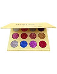 BEAUTY SEQUINS Eyeshadow Palette Insanely Pigments Glitter Make Up Palettes Long Lasting Waterproof 12 Shades(12 colors Glitter Palette)