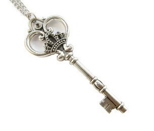 Large Skeleton Key Necklace, Antique Silver Finish Key, Ornate Victorian Style, Crown Necklace, Long -