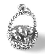 Sterling Silver Easter Basket with Eggs Charm with Split Ring - Silver Charm Sterling Basket