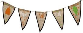 Fall Burlap Pennant Banner Happy Fall Y'all with Dots and Pumpkin]()