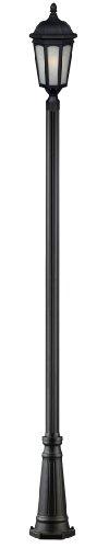 Z-Lite 508PHB-519P-BK Newport One Light Outdoor Post Light, Aluminum Frame, Black Finish and White Seedy Shade of Glass Material