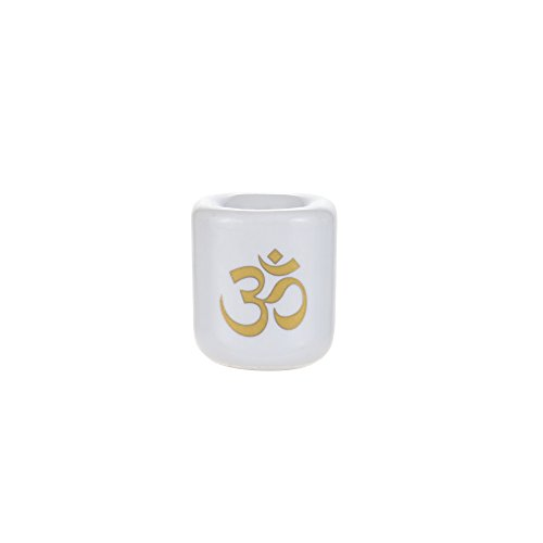 Mega Candles - Ceramic Gold Om Chime Ritual Spell Candle Holder - White ()