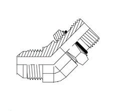 Brennan Industries 6802-12-12-NWO-FG Forged Steel 45 Degree Elbow Tube Fitting, 1-1/16\'-12 SAE x 1-1/16\'-12 SAE Thread, 3/4\' Male JIC x 3/4\' Male Adjustable O-Ring Boss 1-1/16-12 SAE x 1-1/16-12 SAE Thread 3/4 Male JIC x 3/4 Male Adjustable O-Ring Boss