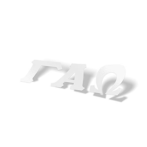 Gamma Alpha Omega Fraternity White Letter Sticker Decal Greek 2 Inches Tall for Window Laptop Computer ()