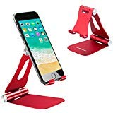 Desktop Cell Phone Holder Foldable, Adjustable Cell Phone Stands Tablet Holder Universal Aluminium Stands for Nintendo Switch iPhone iPad Pro Stand iPad Mini Stands and Holders for Desk - Red