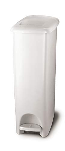 Rubbermaid Step-On Lid Slim Trash Can for Home, Kitchen, and Bathroom Garbage, 11.25 Gallon, White (White Pedal Bin)