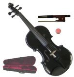 Merano MV300BK 4/4 Full Size Black Violin with Case and Bow Extra Set of String Extra Bridge and Rosin by Merano