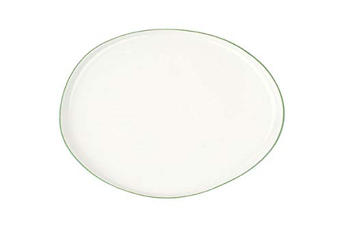 Canvas Home Abbesses Porcelain Serving Platter, Hand-Glazed Porcelain Serving Tray with Hand Painted Rim (Small, Solid White with Green Rim) ()