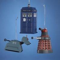 Kurt Adler Doctor Who Christmas Ornament Set of 3: Tardis, Red Dalek, and K-9 (Mini Tardis)