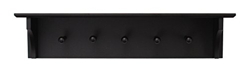 "kieragrace Foster Wall Shelf with 5 Pegs, 24"" by 5.5"", Black"