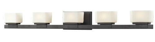 Z-Lite 3021-5V 5-Light Vanity Light with Glass Shade Steel Material, Matte Opal - Finished 5 Light Vanity